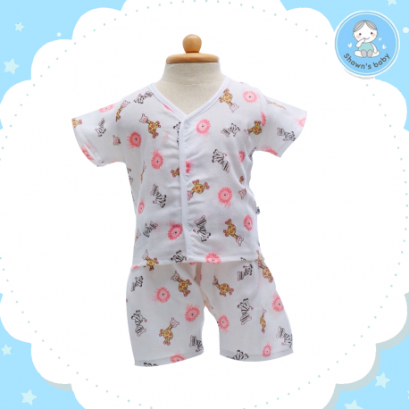 Shawn's Baby Short Shirt with Short Pants Wild Cartoon Pink (size M)