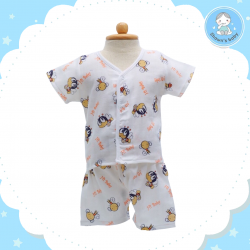 Shawn's Baby Short Shirt with Short Pants Bee Cartoon Orange (size M)