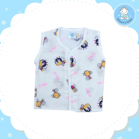 Shawn's Baby no Sleeve Shirt Bee Cartoon (Pink)